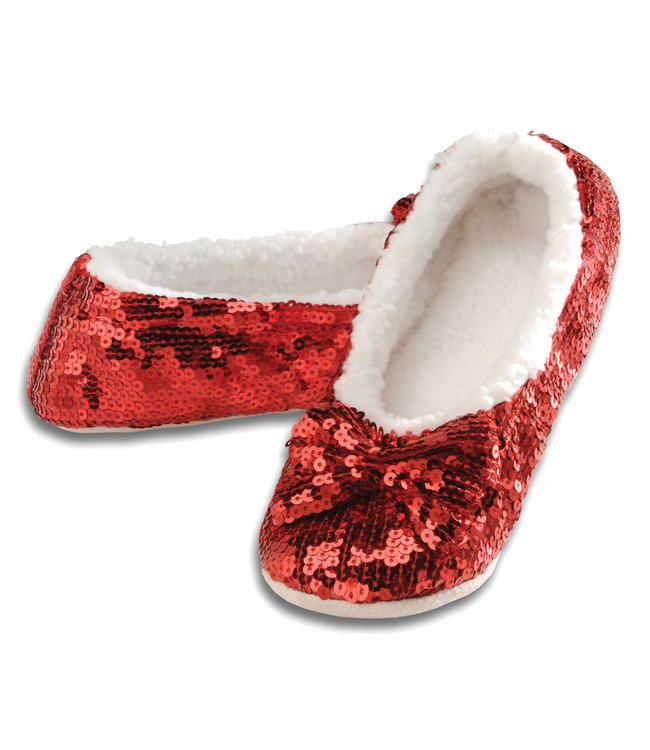Snoozies Red Sequin Slippers