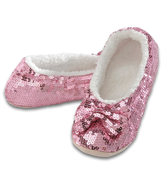 Snoozies Pink Sequin Slippers
