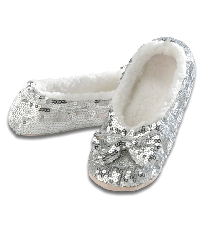 Snoozies Silver Sequin Slippers