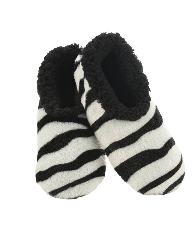 Snoozies Zebra Slippers