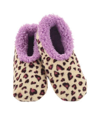 Snoozies Purple Leopard Slippers