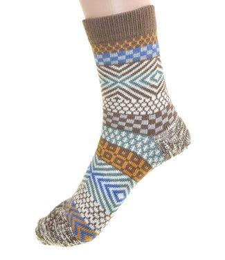Cedar Paddle Boot Socks- Brown Striped