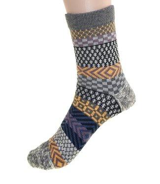 Cedar Paddle Boot Socks-Grey/Yellow Striped