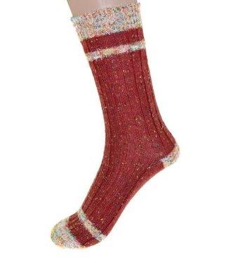 Cedar Paddle Boot Socks- Rust w/ Stripes