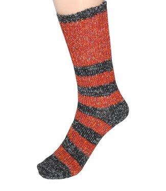 Cedar Paddle Boot Socks- Orange/Grey Stripes