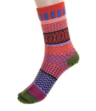 Cedar Paddle Boot Socks- Green/Red Striped