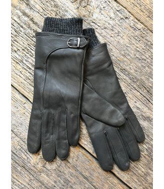 Leather Gloves w Buckle and Knit Cuff