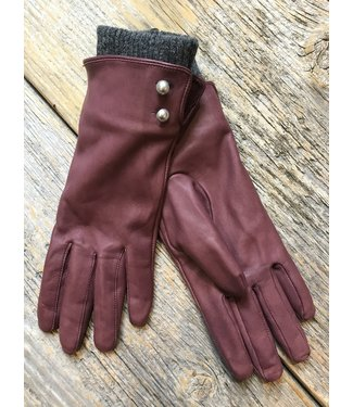 Leather Gloves w Knit Cuff