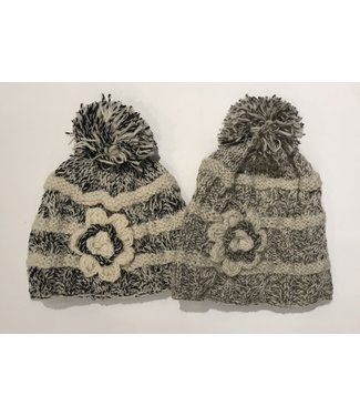 Toque with Knit Flower and Pompom