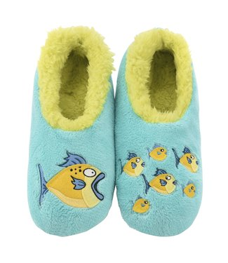 Snoozies Snoozie Slippers - Aqua Fish