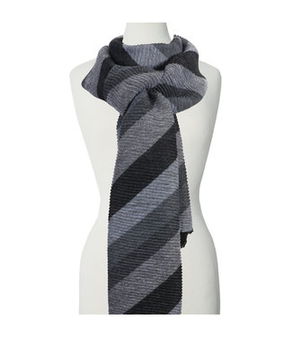 Lined Scarf - Grey and Black