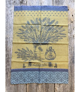 French Tea Towel - Mustard Lavendar