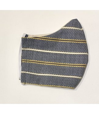 Face Mask - Upcycled - Blue stripes - Made in Canada