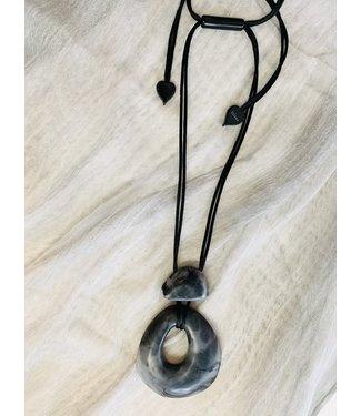 Zsiska Necklace - Grey Marble