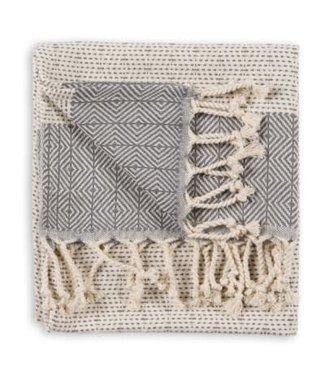 Pokoloko Turkish Hand Towel - Lined Diamond - Slate