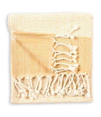 Pokoloko Turkish Hand Towel - Lined Diamond - Gold
