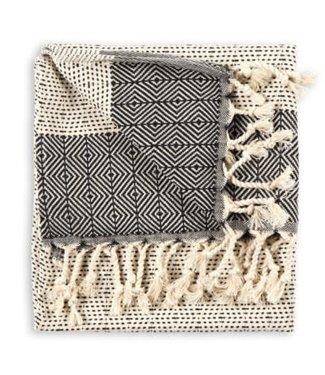 Pokoloko Turkish Hand Towel - Lined Diamond - Black