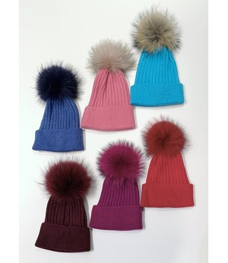 Toque with removable Real Fur Pompom
