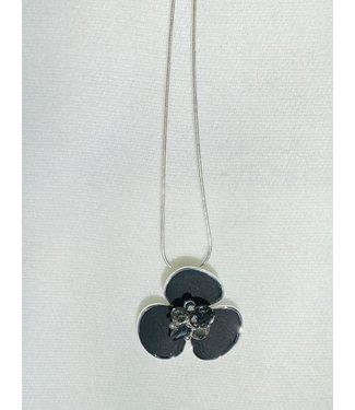 Necklace - Flower w/ Crystal - Black