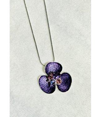 Necklace - Flower w/ Crystal - Purple