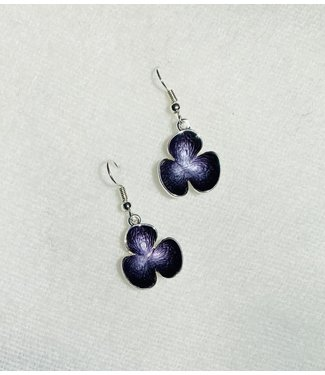 Earrings - Flower - Purple
