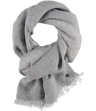 Fraas Micro Stripe Linen Viscose Woven Wrap/Scarf  - Grey**