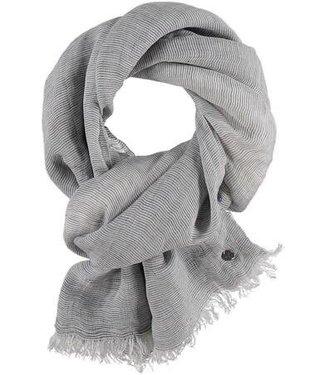 Fraas Micro Stripe Linen Viscose Woven Wrap/Scarf  - Grey**