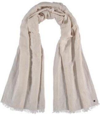 Fraas Micro Stripe Linen Viscose Woven Wrap/Scarf  - Beige**
