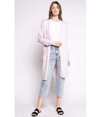 Pink Martini Long Open Cardigan - Dusty Pink