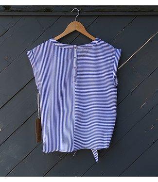 Point Zero Sleeveless Tie Front Stripe Blouse