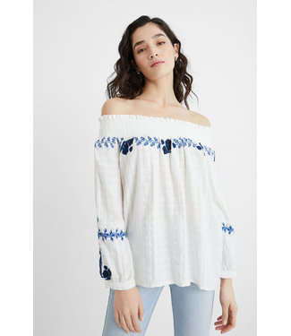 Desigual Embroidered Blouse - White