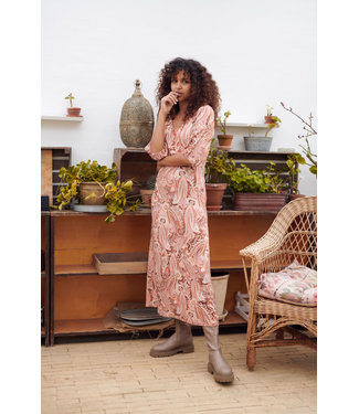 Cream Lulla Dress - Rose Brown Paisley