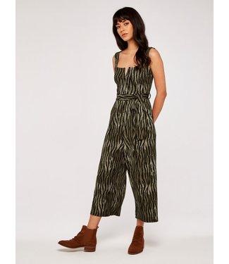 Apricot Zebra Stripe Jumpsuit - Khaki