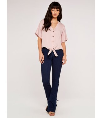 Apricot Button Down Knot Top - Pink