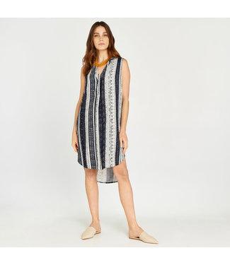 Apricot Batik Stripe Dress - Navy