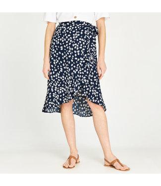 Apricot Flower Wrap Skirt - Navy