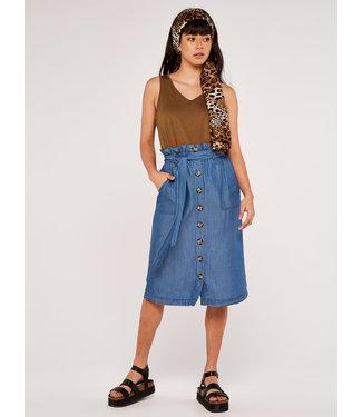 Apricot Denim Paperbag Skirt