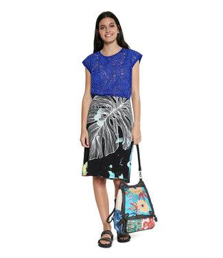 Desigual Black Leaf Print Skirt