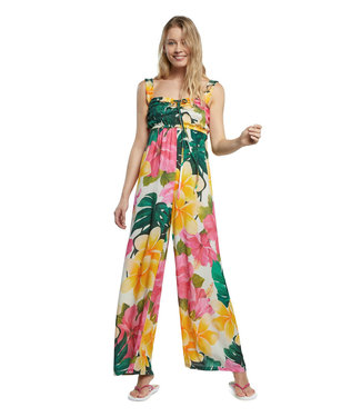 Desigual Floral Jumpsuit with Smocking
