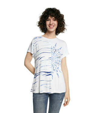 Desigual White/Blue TShirt with Turquoise Beads