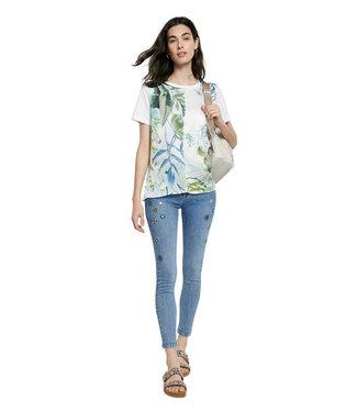 Desigual White Leaf Print T-Shirt