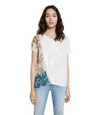 Desigual Cream Flower Print T-Shirt
