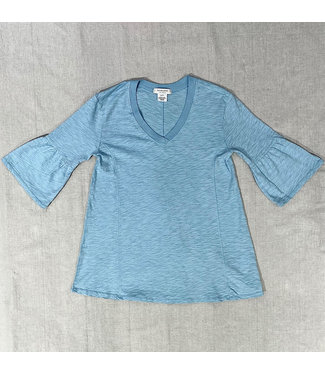 Mododoc Elbow Sleeve V-Neck - Angel Blue