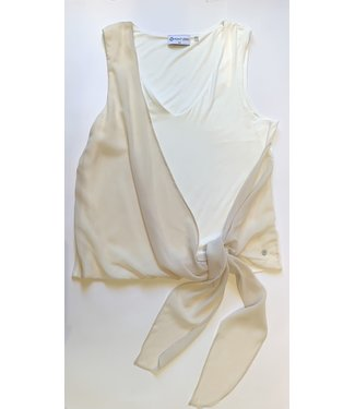 Point Zero Sleeveless Knit Top with Wrap - Cream/Pearl