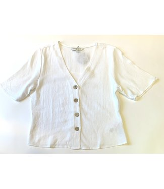 Apricot Half Sleeve Button Top - White