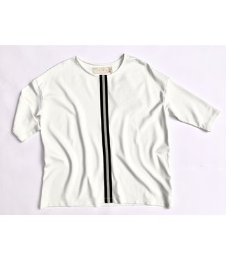 PAN Top with Stripe - White