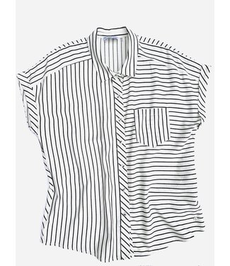 Point Zero Capped Short Sleeve - Black/White Stripes