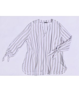 Point Zero Long Sleeve Almond Striped Blouse