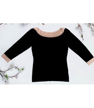 Zilch Sweater Boat Neck - Black / Pink