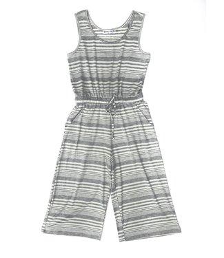 Point Zero Striped Jumpsuit - Grey/White